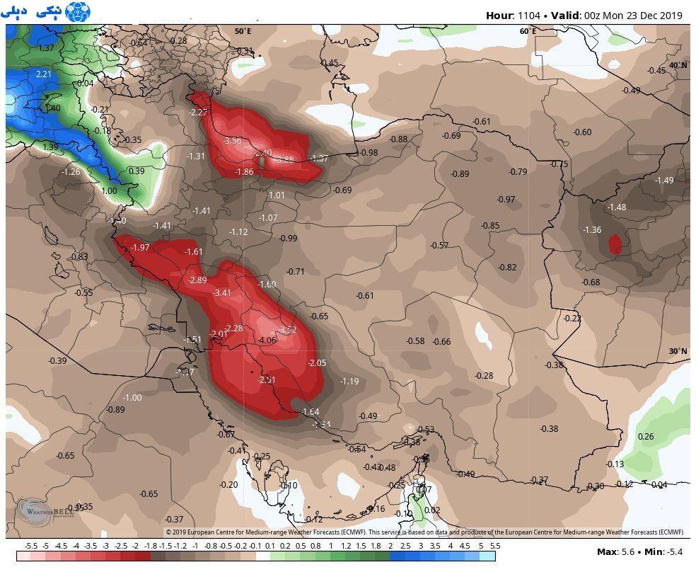 وضعیت بارش ایران طی 46 روز آینده بر اساس مدل اروپا /نمودارگرافی